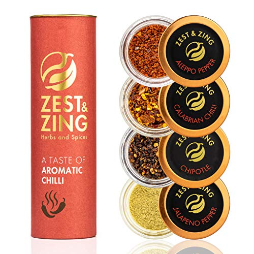 Aromatic Chillis Spice Gift Set (Aleppo Pepper, Jalapeno, Chipotle, CalabrianPepperoncino) - Premium Spice Gift Sets by ZEST & ZING. Christmas, Housewarming, Birthday, Wedding Gifts for Foodies.