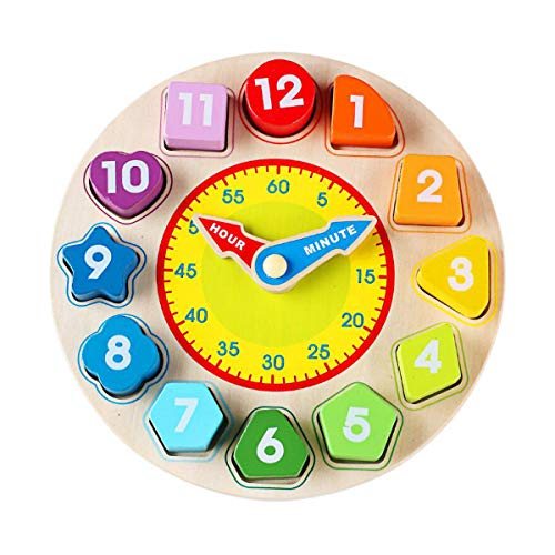 N2 Time Clock Toy for Kids Wooden Time Learning Shape Sorting Color Game Montessori Early Education Math Set Kid Jigsaw Play Tool Preschool Toddler Puzzle Toy Gift for Boys Girls Birthday Age 3 4 5 6