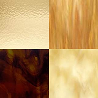 4 Amber Variety Stained Glass Sheets (8