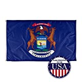Vispronet - Michigan State Flag - 3ft x 5ft Knitted Polyester, State Flag Collection, Made in The USA (Flag Only)