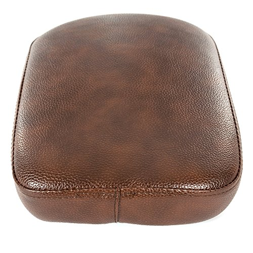 Motorcycle PU Leather Brown 8 Suction Cup Solo Rear Seat Passenger Pillion Pad Seat for Custom Chopper Cruiser