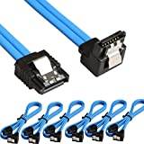 Relper-Lineso 6 Pack 90 Degree Right-Angle SATA III Cable 6.0 Gbps with Locking Latch 18Inch (6X Sata Cable Blue)