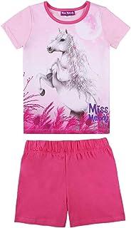 Miss Melody niñas Ropa de Dormir, Pijama, Sleepwear, Set: T-Shirt, Camiseta y Shorts, Rosa