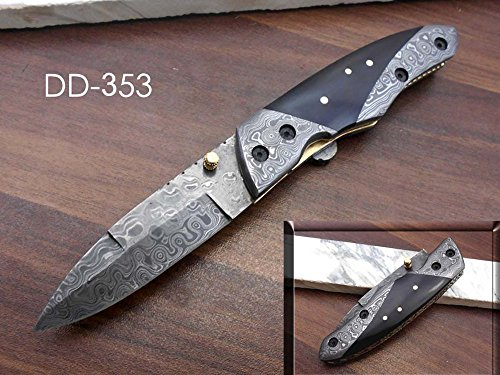 Hand Forged Damascus Steel Folding Knife with Cow Hide Leather Sheath, Hand Crafted Bull Horn Scale with Damascus Bolster