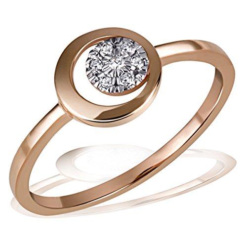 Goldmaid Damen-Ring Pavee 585 Rotgold 7 Diamanten 0,06 ct. Gr. 58 Pa R6814RG58 Verlobungsring Diamantring