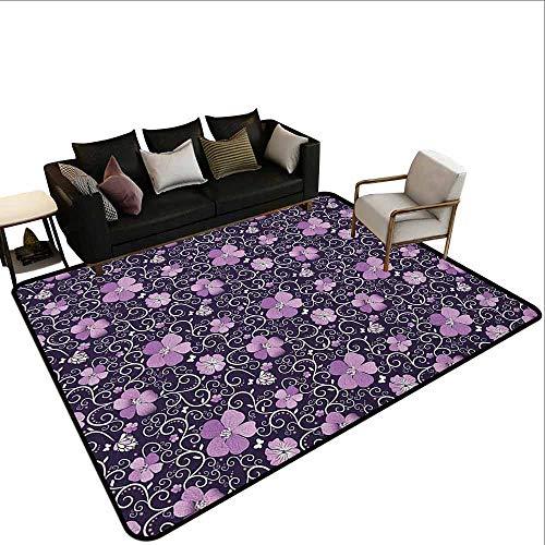 MsShe Tapijt liner voor tapijt Bloemen,Botanische aquarel Planten met Swirled Leaves Dotted Tranches Patroon, Roze Paars Bordeaux