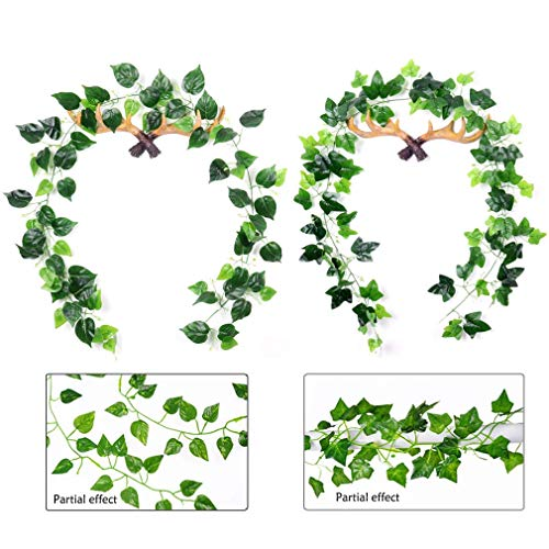 ZLMC 6.7 Ft 2 Strands Artificial Ivy Garland Leaf Vines,Fake Vines,Hanging Green Leaves Fake Plants,Vines for Room Wedding Party Garden Wall Outdoor Greenery Wall Home Kitchen Garden Office Decor