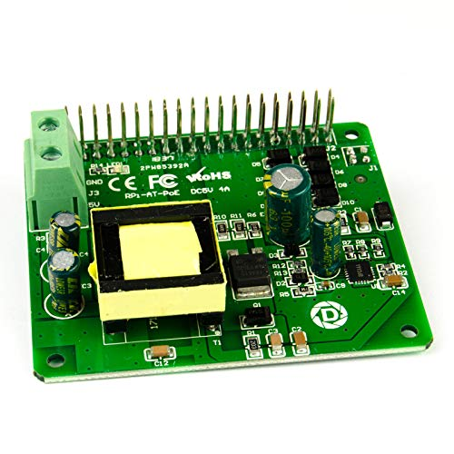 DSLRKIT Power Over Ethernet PoE HAT IEEE802.3at DC 5V 4A PoE+ with 1.5KV Isolation for Raspberry Pi 4B 3B+ 3B Plus