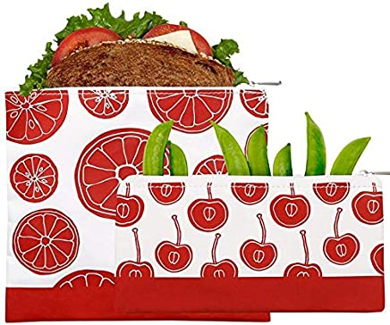 Lunchskins MP-Zip RED 2-Pack Fruit Zippered Bag Set 1 Sandwich + 1 Snack,