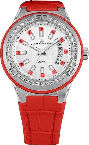 Jacques Lemans Damen-Armbanduhr XL Miami Analog Quarz Leder 1-1776J