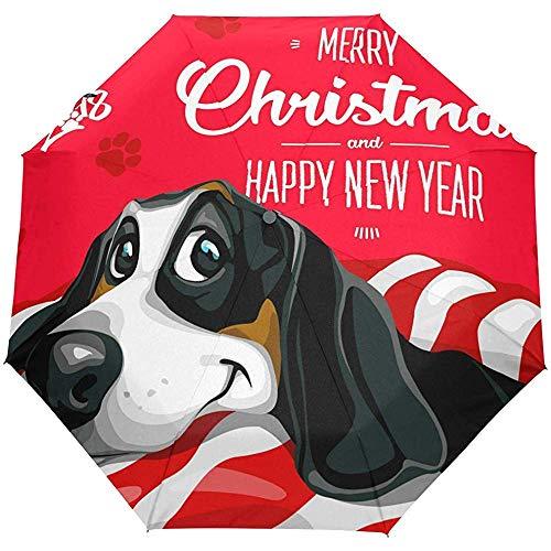 Invierno Año Nuevo Lindo Perro Cachorro Animal Bienvenido Hola Auto Paraguas Abierto Sol Lluvia Paraguas Anti UV Plegable Compacto Automático Paraguas