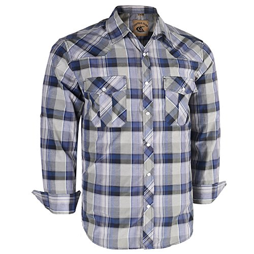 Coevals Club Men's Long Sleeve Casual Western Plaid Pearl Snap Buttons Shirt (M, 13#Gray,Blue)