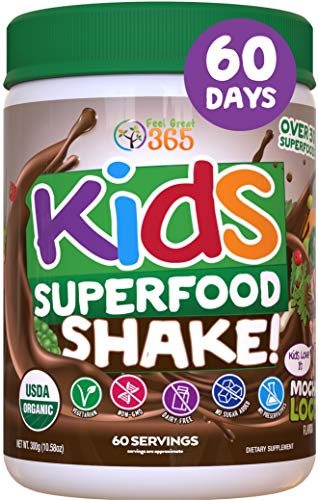 Kids Superfood Shake Mocha Greens Powder by Feel Great 365 (60 Servings), 100% Non-GMO, Made with Real Fruits & Vegetables, Multivitamin, Vegan Blend. Helps Build Immunity and Big Brains