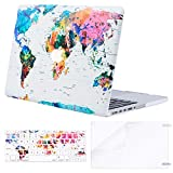 MOSISO Compatible with MacBook Pro 15 inch Case A1398 with Retina Display, Older Version, 2015 - end 2012 Release, Plastic Pattern Hard Shell Case&Keyboard Cover&Screen Protector, World Map White Base