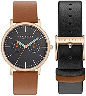 TED BAKER Men's BRIT Quartz Stainless Steel & Leather Dress Watch with Interchangeable Color Straps, BLACK AND BROWN