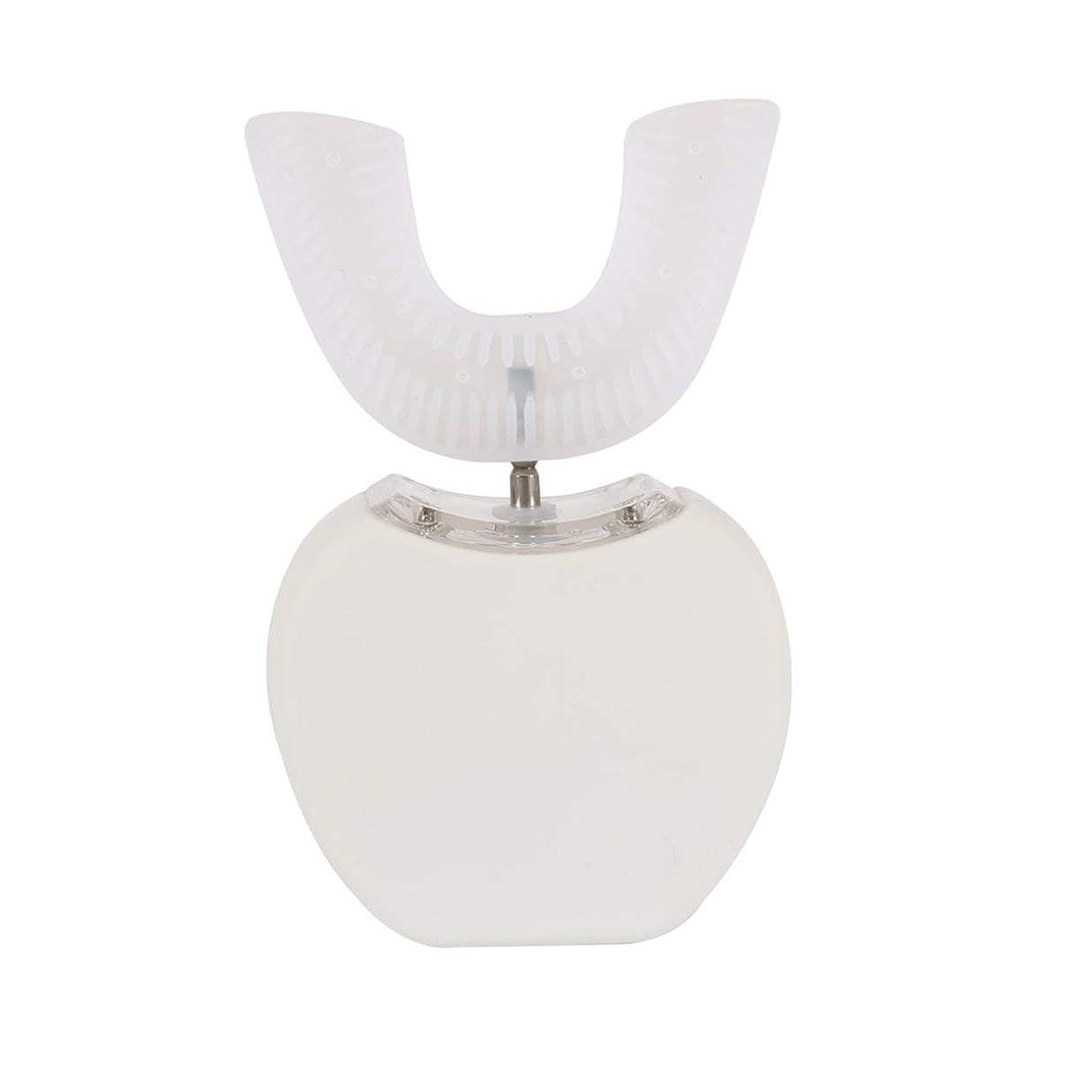 定期的に変化治世360°ワイヤレス充電怠惰な自動ソニックシリコーン電動歯ブラシ - ホワイト
