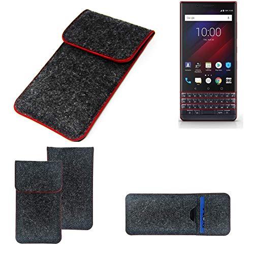 K-S-Trade Handy Schutz Hülle Für BlackBerry Key 2 LE Dual-SIM Schutzhülle Handyhülle Filztasche Pouch Tasche Hülle Sleeve Filzhülle Dunkelgrau Roter Rand