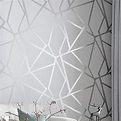3D-Wandtapete, geometrisch, modernes Design, silbernes