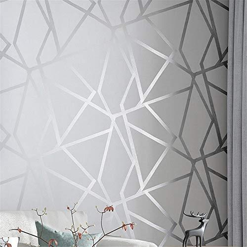 3D-Wandtapete, geometrisch, modernes Design, silbernes Streifenmuster, grau, für Schlafzimmer, Wohnzimmer, Heimdekoration (10 m x 53 cm)