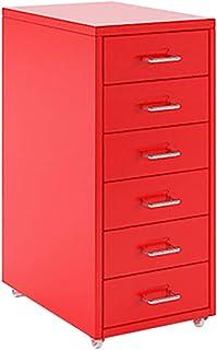 Rangement de dossiers Classeur mobile à 6 tiroirs amovible en métal remplissant classeur Table de chevet Bureau Documents ...