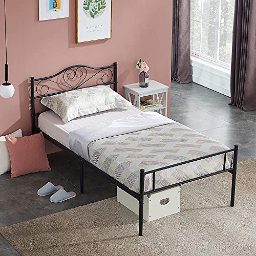 Wrought-Iron Bed for 2 People with a Local Non-Slip Metal Legs 2 Wrought-Iron beds 2 Easy to Assemble Robust,90 * 190cm