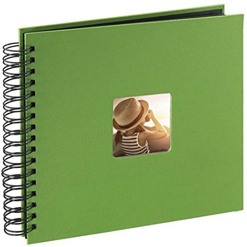Hama Fotoalbum (28 x 24 cm, 50 schwarze Seiten, 25 Blatt, mit Ausschnitt für Bildeinschub) Fotobuch apfelgrün