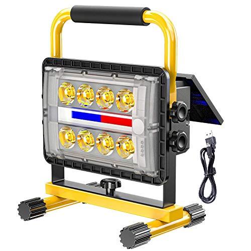 Luz de trabajo LED Foco solar 200W, Foco de construcción de batería 3500K Luz cálida, Lámpara de trabajo recargable USB con 4 modos de luz, Banco de energía de 20800Mah, Foco de exterior para acampar
