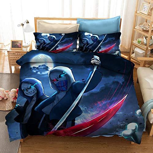 GD-SJK Undertale - Juego de ropa de cama para niños - funda nórdica y dos fundas de almohada, microfibra, impresión digital 2D, A08, 155 x 220 cm