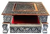 eRadius Table basse 38,1x 38,1cm indienne, Bajot, table basse de mariage Puja Chowkie avec tiroirs de rangement