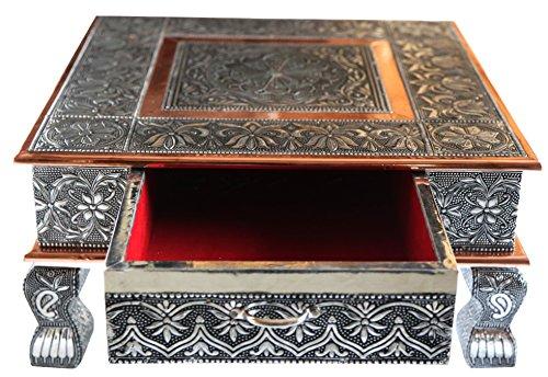 eRadius Beistelltisch aus oxidiertem Kupfer, mit Schublade, niedriger Tisch, Kaffeetisch (Bajath chowkie), Hochzeit, Puja (indisches Ritual),  38,1 x 38,1 cm