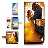 ( For Samsung Note 8 , Galaxy Note 8 ) Flip Wallet Case Cover & Screen Protector Bundle - A21078 Beauty Beast