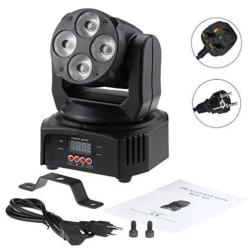 Mini Moving Head DMX-512 4X12W Disco Licht, Party Licht 6 In 1 RGBWA+UV 9/14 Kanäle,4 Steuerungsmodi für Party Disco DJ 4 LED 6 in einer Lampe Perle (rot, grün, blau, weiß, gelb, lila)