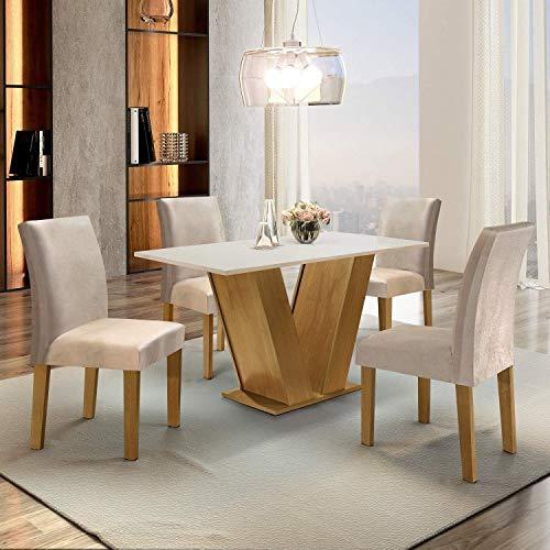 Conjunto Sala de Jantar Mesa Tampo MDF 4 Cadeiras Espanha Siena Móveis Ypê/Suede Bege