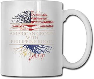 American Grown With Philippine Roots Coffee Mugs 11 Oz Office Gift Ceramic Tea Cup,Perfect Gift for Family and Friend
