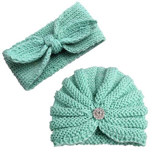 YACHAO Baby Hut Winter 2 Stück Baby Hüte Kinder Wintermütze Stirnband Set Mädchen...