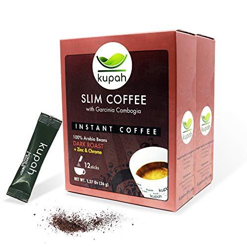 Schlankheitskaffee   Kupah Slim   Natürlicher Instant-Kaffee   24 Beutel x 3 g, 72g   Garcinia Cambogia   Reduziert den Appetit und hilft beim Abnehmen   Handwerkliche Röstung   Schnellkaffee sticks