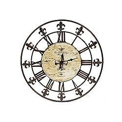 Benjara, Brown Benzara BM00044 Oversized Metal Wall Clock with Wooden Center
