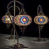 Turkish Lamp, Tiffany Lamp 2021 Mosaic Stained Glass Boho Moroccan Lantern Table Lamp, Swan Neck Handmade Desk Lighting Night Decor Light, Antique Color Body with US Plug & Socket by LaModaHome