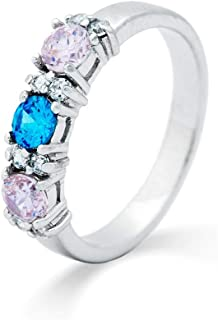 Sterling Silver Personalized 3 Stone Simulated Birthstone Custom Ring, Sizes 5 to 9