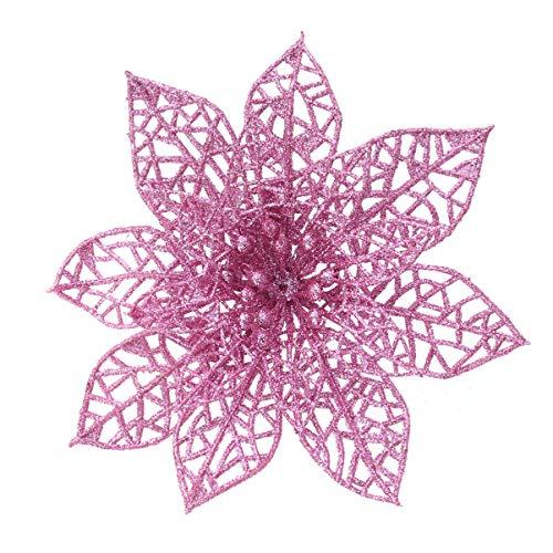 Wakauto Artificial Christmas Flowers, 10pcs Simulated Christmas Glitter Artificial Christmas Flowers Plastic Decorative Flowers for Christmas Tree (Pink)