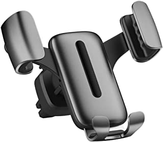 Car Phone Mount,  Cell Phone Holder for Car,  Air Vent Auto-Clamping Metal Car Phone Holder,  Cradle Compatible for 4-6 inch iOS/Android Smartphone (Gray)