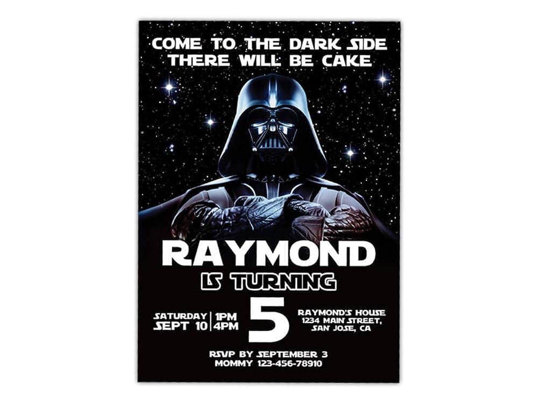 Custom Star Wars Darth Vader Birthday Party Invitations for Kids, 10pc-60pc 4