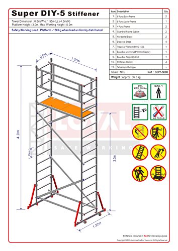 Super DIY 5 (3 en uno) - Torre de andamios de aluminio