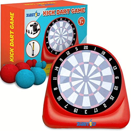 Giant Inflatable Kick Darts Soccer Ball Board Game | Great for Backyard Outdoors Play and Activities | Includes 4 Ball and Air Pump | Easy Inflating with Stable Water Filled Base