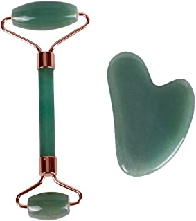 KeyZone Green Jade Roller Natural Stone Facial Massage Gua Sha Set for Face Eye Neck Skin Care