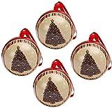 Paquete de 4 latas de metal navideñas para galletas, tarro, contenedores de almacenamiento de dulces, galletas, lata para regalos de Navidad, año nuevo, fiesta - árbol de Navidad