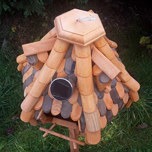 Großes Luxus Solar Licht Vogelhaus Holz Bunt Vogelfutterhaus Vogelhäuschen K32S LED (Braun / Dunkelbraun) - 4