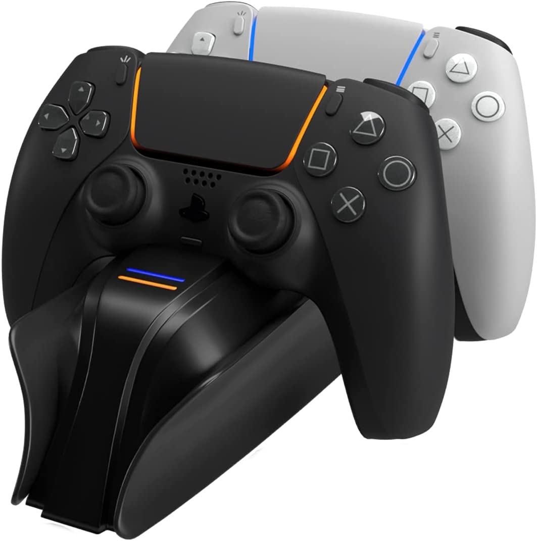 snakebyte PS5 Twin Charge 5 - Negro - Estación de Carga de PS 5 para mandos DualSense, Cargador para 2 mandos inalámbricos con Cable Tipo-C Incluido, indicador LED de Estado de Carga, diseño PS5