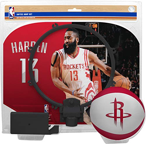Rawlings NBA Player Mini Basketball Indoor Hoop Set - Includes Hoop with Door Clip & Softee Basketball - Office or Kids Size - James Harden