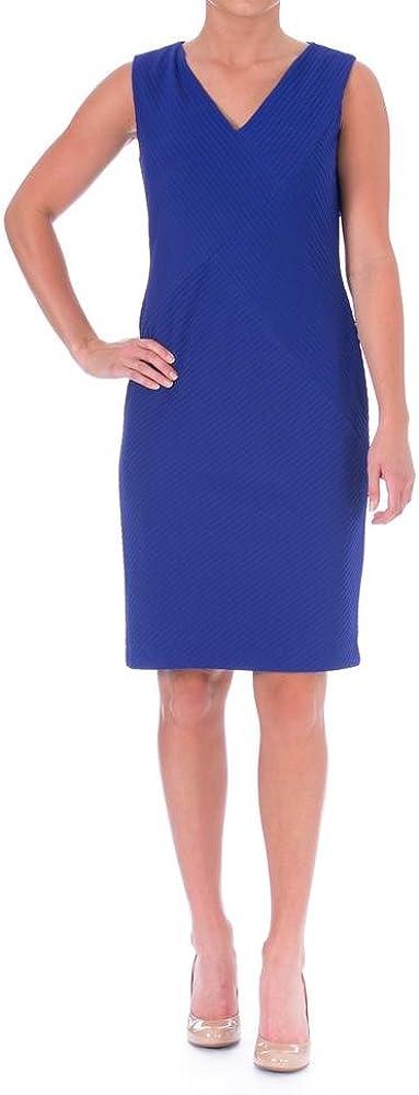 Anne Klein Women's V-Neck Textured Stripe Stretch Sheath Dress